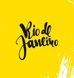 Rio de janeiro inscription on a yellow background vector