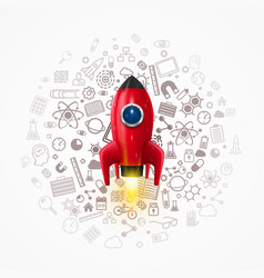 rocket with icons on the background vector image