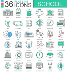School color flat line outline icons for vector