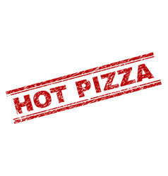 Scratched textured hot pizza stamp seal vector