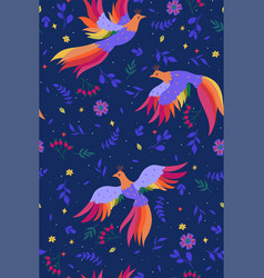 seamless pattern with magic birds on a blue vector image
