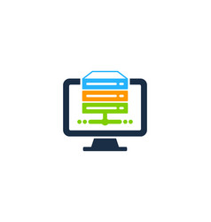 server computer logo icon design vector image