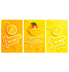 set of fresh and cold lemonmangoorange juices vector image