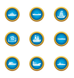 Shipping industry icons set flat style vector