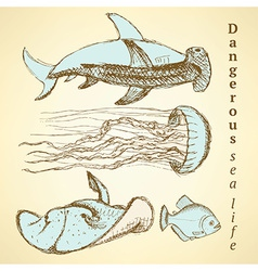 Sketch sea creatures in vintage style vector image