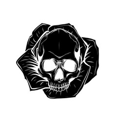 skull and roses flowers hand drawn vector image