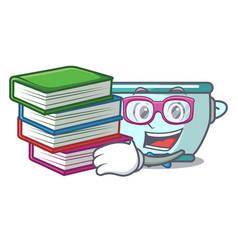 student with book steel pot mascot cartoon vector image