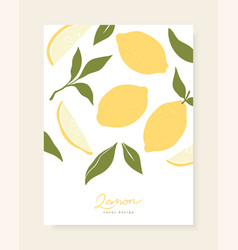 stylish cover design with lemon fruits vector image