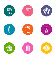 Swimming party icons set flat style vector
