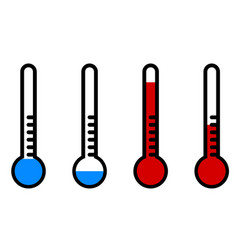 Thermometer with high and low temperature cartoon vector
