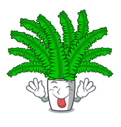 tongue out fresh fern branch isolated on mascot vector image