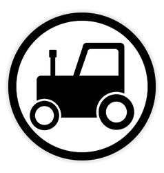 Tractor button on white vector