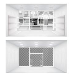Transparent city street open doors store interior vector