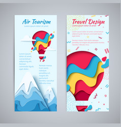 Travel design flyer paper hot air balloon concept vector