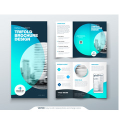 tri fold brochure design teal orange corporate vector image
