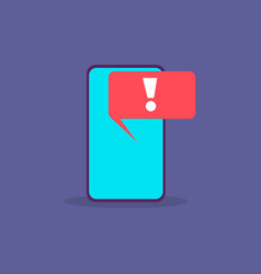 Virus alert malware notification on smartphone vector