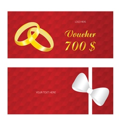 voucher with rings wedding vector image