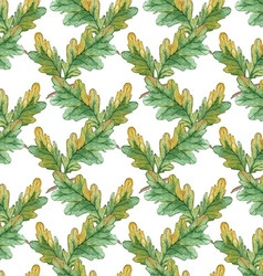 Watercolor seamless pattern with oak leaves vector