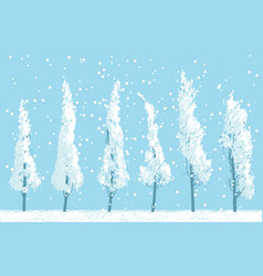 Winter landscape with snowy trees on sky backdrop vector