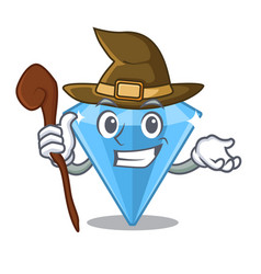 Witch sapphire gem in a mascot box vector