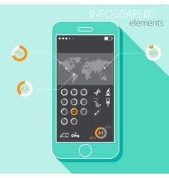 with a mobile phone set infographic elements vector image