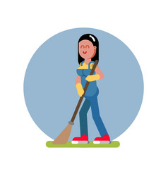 Woman cleans in the garden vector