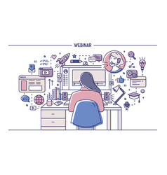 Woman sitting at desk with computer surrounded by vector