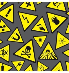 yellow and black danger and warning signs pattern vector image