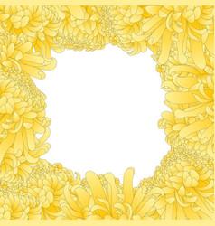 Yellow chrysanthemum flower border vector