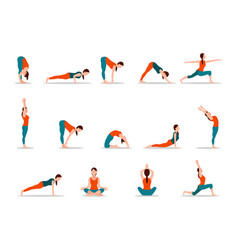 Young girl practicing yoga set of different poses vector