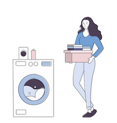 Young housewife is doing laundry with washing vector