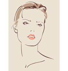 beautiful woman face hand drawn vector image vector image
