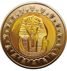 egyptian coin featuring pharaoh vector image vector image