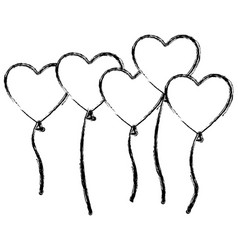 figure bolloons hearts forms icon vector image