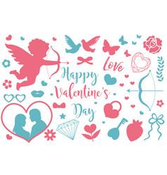 happy valentine s day icon set of stencil vector image vector image