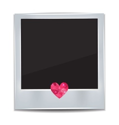 Photo frame with heart on white background vector image vector image