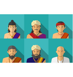 portrait of indian people in traditional costume vector image