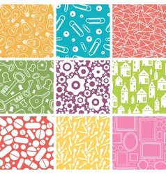 Set of nine household objects seamless patterns vector image