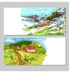 Sketch Colorful Countryside Landscapes vector image vector image