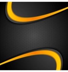 Black orange contrast wavy background vector image