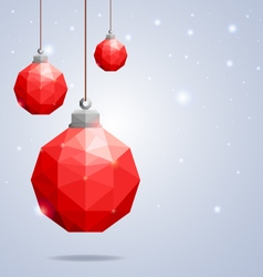 Polygonal red Christmas balls hanging on winter b vector image vector image