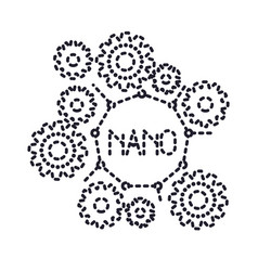 set gear machinery with nano molecular structure vector image vector image