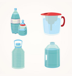 set plastic bottle of pure water different bottle vector image