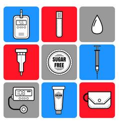 test strip drop of blood syringe and glucose vector image