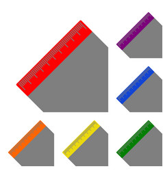centimeter ruler sign set of red orange yellow vector image