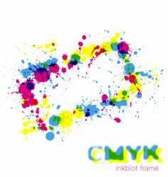 cmyk inkblot frame vector image