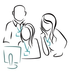 Consultation at computer vector image