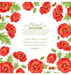 Frame with wreath of poppies isolated on white vector image vector image
