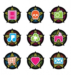 vintage star icons vector image vector image