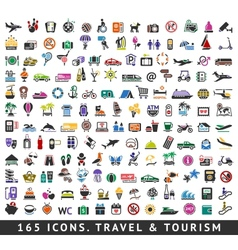165 colors icons Travel and Tourism vector image